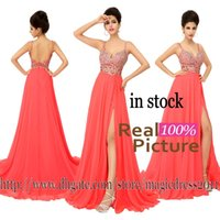 Wholesale Sexy Split Crystal Prom Party Dresses with Backless IN STOCK A Line Sweetheart Beaded Formal Evening Gowns Dresses for Women