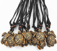 acrylic resin powder - pc Tribal Style Yak Bone Powder Carved Sun Smiley Frog Surfer Turtles Pendant Charm Necklace Wood Beads Adjustable Rope MN173