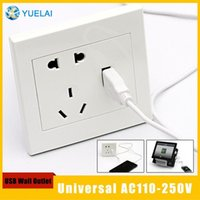 Wholesale Universal AC110 V Wall Socket Plus One USB Wall Outlet white for for power charge