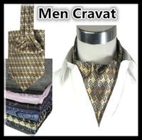 Wholesale British Men Cravat Style Neckline Towel Ascot Printed Business Dresses Accessories Fahsion Man Ties Boys Men Suit Scarves