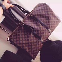 leather duffel bags - 2015 Hot sell Short distance Travel bag plaid cowhide duffel bag genuine leather outdoor packs grade AAAA