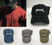Wholesale 2016 New Black Yeezus Embroidered Glastonbury Unstructured Dad Cap Unreleased Kanye Hat casquette rose panel god pray rodeo hat