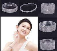 Wholesale 10 Clear Rhinestone Elastic Bracelet Jewelry Wedding Stretchy Bridal Crystal Bangle Wristband