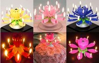 Wholesale Birthday Candle Music Candles Party Decoration Lotus Flower Double Layered Rotating Sound Cake Topper Red Blue Yellow Pink