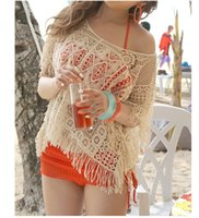 bat covers - Summer Style Lace Hollow Out Tops Bat Crochet Bikini Cover Ups Women Sexy Short Sleeve Solid Crop Tops Knit Lace Beach Swimwear Z108