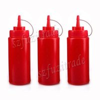 Wholesale Hot Sale oz ML Kitchen Plastic Red Squeeze Bottle Condiment Dispenser for Sauce Vinegar Oil Ketchup New AIA00279C
