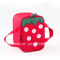 aluminum lunch containers - New Design Red Cute Strawberry Square Shape Thermal Lunch box Container Aluminum Foil Cooler Bag for Kids