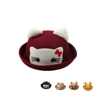 Wholesale Winter and Autumn Woolen Child Flanging Pots Caps Cute Animal Shaped Hat Baby Plain Christmas Hats Topper Fedoras