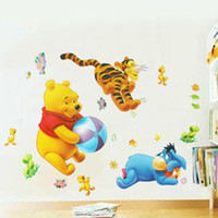 baby pooh wallpaper - Cartoon THE POOH Play Wall Stickers Art Decals Baby Bear Cartoon DIY Wallpaper For Kids Baby Rooms Sofa Bedroom Decoration order lt no track