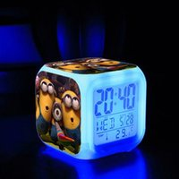 Wholesale Despicable me Digital Alarm Clock Minions Alarm Clock Thief Daddy Alarm Clock Glowing Table Clock Colors Changeable LED Night Lights