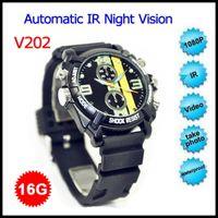 Wholesale V202 P FULL HD P Watch Waterproof IR Night Vision PC Camera Hidden DVR Watch Spy Camera GB Watch Camcorder Retail Box Packing