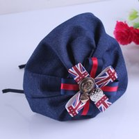 other beret headband - Xayakids Hairpin South Korea the British flag style denim hair hoop Beret models fashion headdress studio Baby Headband