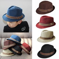 Wholesale New Fashion Kids Boy Girl Unisex Fedora Hats Cap for Children Contrast Trim Cool Jazz Chapeu Feminino Trilby Sombreros GA0074