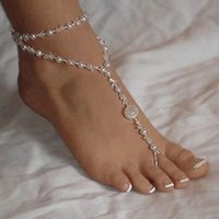 Wholesale 1pc High Quality Fashion Womens Beach Imitation Pearl Barefoot Sandal Foot Jewelry Anklet Chain Bracelet
