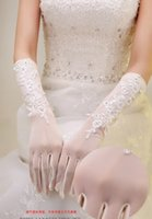 Bridal Gloves bead embroidery jewelry - Hot saleBridal Lace Flower Gloves Diamond Bud silk embroidery Wedding jewelry full finger gloves