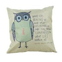 Wholesale 4 Types Decorative Sofa Cushion Covers Throw Pillow Case cm Vintage Decorbox Cotton Linen Square Cute Cartoon animal Owl
