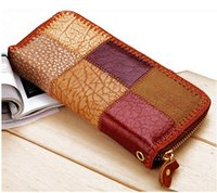 Wholesale Lady Cowhide Wallets Plaid Patchwork Women Wallet Genuine Leather Designers Brand Women WalletsFashion Clutch fashion womens Purses