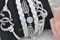 Wholesale 2014 LOVE Angel Wings Bangle Double HEART Girls Punk Style Multilayer Braided Bracelet Hand Chain Handmade Cuff Bangle MHM034