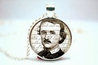 american gothic photo - 10pcs Edgar Allan Poe Necklace Gothic Jewelry Silver Plate Glass Photo Cabochon Necklace