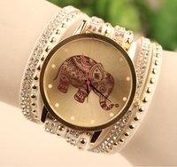 Wholesale 2015 New Fashion retro elephant printing bracelets watches Leather Rivets women ladies dress quartz Rhinestone Casual diamond watch