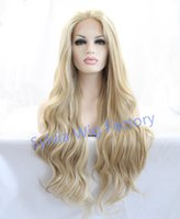 Wholesale Natural look vintage blonde wig long loose wave wigs Brazilian hair synthetic lace front wig heat resistant Synthetic Hair