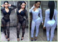 Wholesale Deep V Neck Long Sleeve Mesh Jumpsuit Long Pant Lace Hollow Out Sheer Novelty Romper One Piece Outfit Sexy Club Wear Overalls Bodysuit