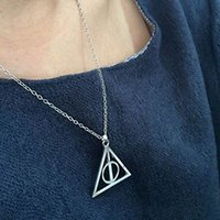 Wholesale Fashion pendant Triangle Hot movie harry potter deathly hallows silver Long Chian necklace L10194 order lt no tracking