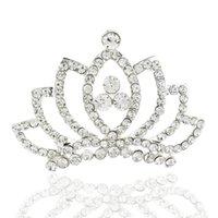 Wholesale Neck new fashion alloy diamond tiara hair comb inserted bridal tiara crown