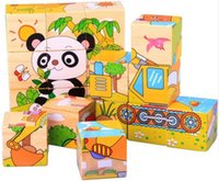 Wholesale 1Set Kids Toys Cartoon Animal Puzzle Wooden Toys Wisdom Jigsaw Early Educational Sides D Puzzles ZZ3160