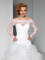 Wholesale Hot Sales Wedding Accessory Long Sleeves Off Shoulder Lace Beaded Jackets Shawls Boleros Wedding Jackets Custom Made Bridal Wraps