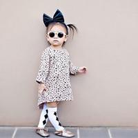 achat en gros de robes de filles léopard mode d'enfants-Robes de fille de léopard Automne imprimé à manches longues en coton Casual Kid Vêtements de mode Girl Party Dress Robes d'enfants CX158