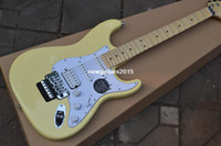 guitar - ST highest quality ST white A groove maple fingerboard headstock Electric guitar Cream yellow with Floyd Rose Tremolo