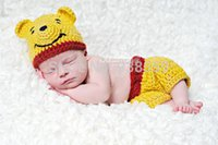 bears photography - cute crochet baby Yellow teddy bear cartoon hat with matching pants baby sets newborn photography props cotton