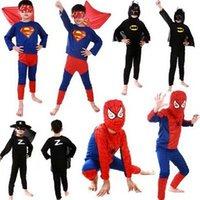 Wholesale DDA2292 sets Kids Cosplay costume Batman costume for kid Superman costume Spiderman Superhero cosplay Costume Zorro costume S M L