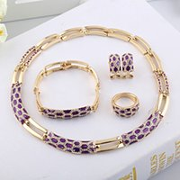 gold plated jewelry - European Classic Gorgeous Women Gold Plated Jewelry Set Purple Black Sexy Lady Accessories for Party A074