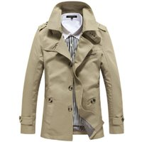 Wholesale Men s Spring Fashion Trench Casual Windbreaker Jackets Coat Slim Fit Cotton Mid long Parka Overcoat