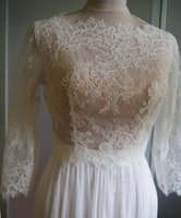Wholesale Lace Bolero Button Back - Hot Selling Lace Bridal Jackets With Half Sleeves Crew Neckline Bolero Jacket Buttons Back Wedding Wraps Capes Bridal Accessories