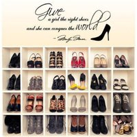 Cheap Marilyn Stickers Give A Girl The Right Shoes...Family Quotes Wall Paper Home Decor Free shipping