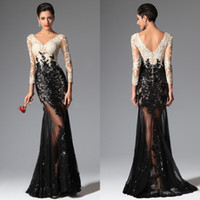black and white evening dresses - 2015 Sexy Sheer Lace Evening Dresses Black and White Mermaid Long Sleeves Evening Prom Dresses V Neck Sequins Appliqued Lace Prom Gowns