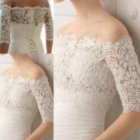 Wholesale Best Selling Pure White Wedding Bolero Cap Sleeve Off Shoulder Lace Bridal Jacket Sleeves In Stock Appliques Bridal Accessories