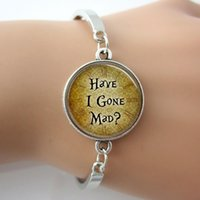 alice in wonderland book - Alice In Wonderland Bangle Have I Gone Mad Fairy Tale Book Quote Art Picture Letter Bracelet Jewelry For Women Men Gift