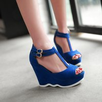 sandal fashion lady shoes - 2015 new fashion women high heels heavy bottomed platform sandals ladies beach sandals T strap wedges shoes