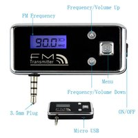 Wholesale Auto Electronic Rechargeable LCD Display FM Transmitter w mm Plug Play Music For Iphone4s s Smartphone Audio devices Q4056A