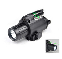Wholesale New Enhanced Tactical W Lumens LED Combo Flashlight With Green Laser Sight mm Rail Mount and Tail Line Switch