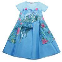 Wholesale Frozen Fever Girl Elsa Blue Dress Kids Summer Gauze Clothing Princess Short Sleeve White Lace Party dress