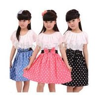 teen clothes - Girls big bow dots A line dress lace cape collar clothing elegant princess cute kids teen toddler prescholler outerwear
