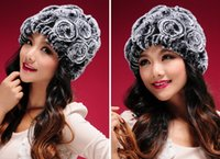 rabbit fur hat - New Real knitted REX rabbit fur hat thick wool lining Beanie women hat winter cap fur flower headgear fur skullies
