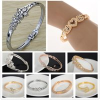Wholesale 7pcs Chic Fashion Gold Silver Plated Crystal Rhinestone Heart Bracelet Women Flower Bangle Cuff Charm Jewelry JB06252 JB06258