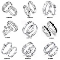 Wholesale Top Grade Silver Couple rings Hot Sale Crystal Charms Lovers Band Ring Party Gift Jewelry Free Ship WH