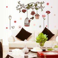 flower stickers wall - DIY Beautiful Wall Sticke Flowers Cartoon Bird Cage Vine Stickers Wallpaper Art Decor Mural Room Decal Decals Sticker